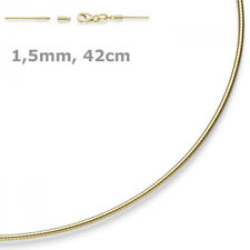 1,5mm Choker Omega Chain Necklace 750 Yellow Gold 42cm Unscrewable