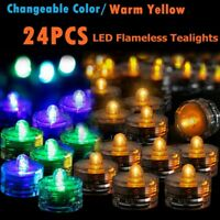 Submersible Waterproof Battery Operated Triple LED Tea Lights Floralyte 12/24PCS
