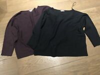 2 H&M Women's Jumpers Sweaters Excellent Condition Size M Black & Burgundy