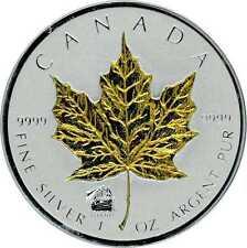 Maple Leaf 2012 Privy Titanic argent 1 once avec Application d'or gilded