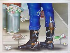 Titelbild Originalzeichnung Bastei Taschenbuch Schwarze Serie Achim Bock Gemälde