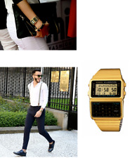 Casio Men's watch retro digital calculator data bank Gold Gift box