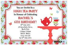 1 x HIGH TEA PARTY FOR GIRLS BIRTHDAY PERSONALISED INVITATIONS + FREE MAGNETS