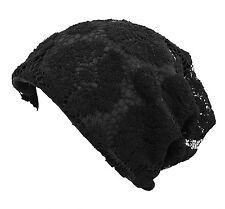 Qunson Womens Lace Chemo Beanie Hat Cap Turban for Cancer Patients Black