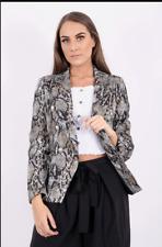 Sale Women Ladies Snake Animal Printed Button Detail Blazer Jacket Smart Coat UK