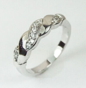 Women's White Gold Filled clear crystal ring