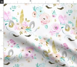 Watercolor, Unicorn, Floral, Animal, Magical, Spoonflower Fabric by the Yard