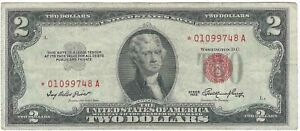 Series 1953 $2 Red Seal Star Note *01099748A