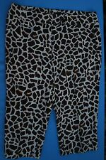 Focus 2000 16 Giraffe Animal Print Capri Pants Linen Cropped Slacks Black White