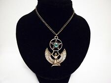 Blue Goddess Isis Bronze Pentagram Necklace Protection Egyptian Pagan Wicca