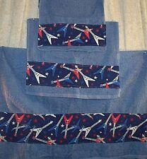 Home Decor' Towel Bath Set 3 Pcs Hand Towel Wash Cloth Country Blue Guitars NEW