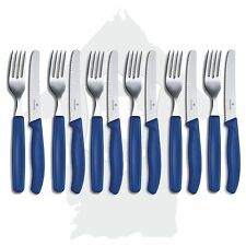 6 Set's VICTORINOX Besteck Tafelbesteck Messer und Gabel + blau +