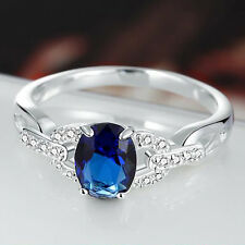 Chic Jewelry Women 925 Silver Oval Cut Sapphire Gem Wedding Bridal Ring Size 7