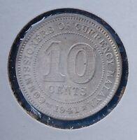 1941 Malaya 10 Cents KM# 4  AU/UNC Silver George VI Coin