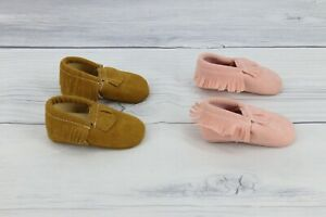 Baby Girls Faux Suede Fringe Moccasins Slip On Shoes Pink Brown Size 6-9 Months