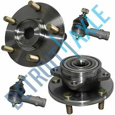 New Set (2) Front Wheel Hubs and Bearings + (2) Outer Tie Rod Ends - No ABS