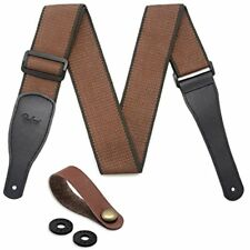 Guitar Strap Straps 100% Soft Cotton Leather Ends Shoulder With Lock And Button