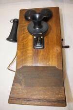Antique Hand Crank KELLOGG Chicago IL  Wooden Oak Wall Telephone 1901 Refinished
