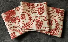 NEW Pottery Barn Christmas red Holiday Toile Bath Towels Postcard Paris cotton