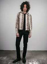 Mens Faux Leather Snake Skin Python 70s Style Retro Jacket XS S M L XL XXL