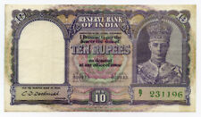 INDIA-BRITISH 1943 KING GEORGE VI 10 RUPEES BANKNOTE CRISP VF.PICK#24.
