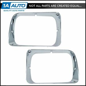 Chrome Headlight Trim Bezel Pair Set for 92-93 Dodge D/W Pickup Truck