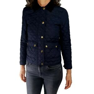 J CREW PXS Black Label Womens Jacket Quilted Barn Goose Down Navy Gold Snaps