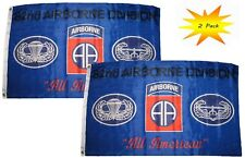 3x5 3'x5' Wholesale Set (2 Pack) 82nd Airborne All American Blue Flag Banner