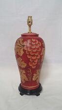 Handpainted Thai Grape Blossom Table Lamp Red