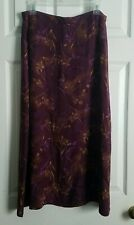 Vintage Sag Harbor Size 16 Plum & Wheat Gold Floral Rayon Skirt