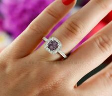 0.96ct Cushion Purple Spinel and Diamond Halo Engagement Ring in 14K White Gold