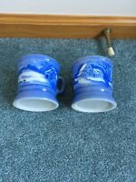 Currier And Ives Blue W Gold Trim 8 Oz Coffee Mugs (2)  HOMESTEAD IN WINTER