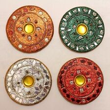 Ceramic Round Incense Stick & Cone Burner Holder Catcher Glitter Metallic Indian