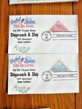 CLIPPER SHIP & STAGECOACH TRIANGULAR STAMP SET 1997 2 FDCS ARTOPAGE CACHETS