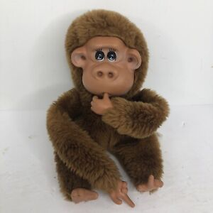 """Vintage Russ Berrie Plush Monkey Rutherford The 3rd 11"""" sucking thumb 1980s"""
