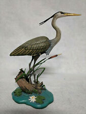 "Surveying the Shallows Danbury Mint 9"" Great Blue Heron Bird by Jeff Rechin-Mint"