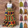 African Women's Print High Waist Party  Long Maxi Skirt Dress + Waist Belt