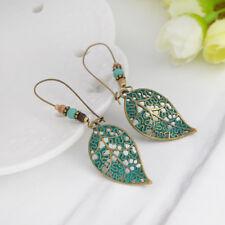 Hollow Leaf Earrings Bronze Bohemia Ethnic Vintage Beads Drop Earrings for Women