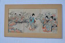 FINE JAPANESE TRIPTYCH WOODBLOCK PRINT NYMPHS CELEBRATING CHRYSANTHEMUM FESTIVAL