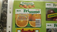 OLD PORTUGAL SOFT DRINK CORDIAL LABEL, UNICER UNIAO, FRI SUMO ORANGE