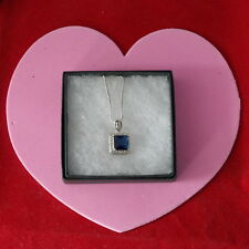 Nice 18 KT Gold Filled Pendant With Sapphire And Topaz Gems 2.5 Cm. Long In Box