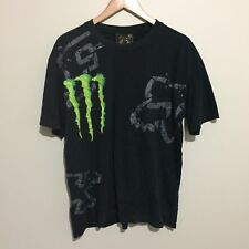 Ricky Carmichael #4 Fox Racing Monster Energy T-Shirt Tee Black Mens 2XL XXL