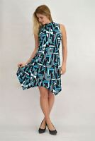 WHITE LABEL Teal Black Abstract Design Sleeveless Dress RRP £28