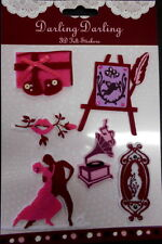 Beautiful 3D FELT STICKERS with gems - Painting  -Easel - Dancing - phonograph