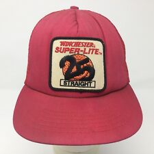 Vintage Winchester Shotgun Ammo Trucker Snapback Hat Hunter Faded Red