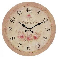 FRENCH STYLE BEIGE PINK BLACK GREEN FLORAL ROSE ROUND WALL CLOCK 29CM X 4CM