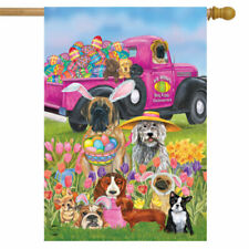 CUTE EASTER DOGS FLOWERS EGGS SPRING HOUSE FLAG 28X40 BANNER *FREE SHIP*
