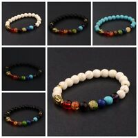 8MM Man's Natural Lava Stone Buddha Beads Handcrafted Beaded Couples Bracelets