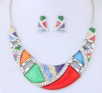 Bohemian Necklace Pendant Rhinestone Acrylic Geometric With Earrings For Women