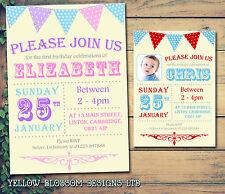 10 Personalizzati Per Bambini Ragazzi invitare festa di compleanno invito grazie Bunting